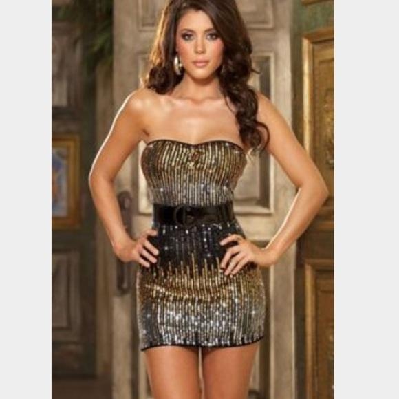 76dfbc4c14 ✨Ombré Sequin Gold Black & Silver Sexy Mini Dress✨.  M_56d90c5bc284568b1500cceb