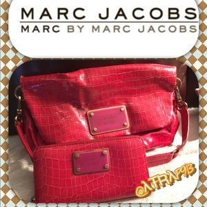Marc by Marc Jacobs crocodile patent wallet & bag