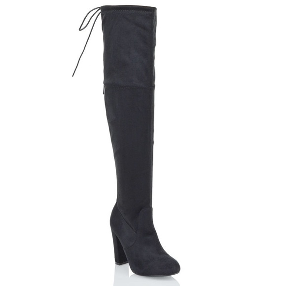1cbe0d6e24a Gray suede like over the knee block heel boots (7)