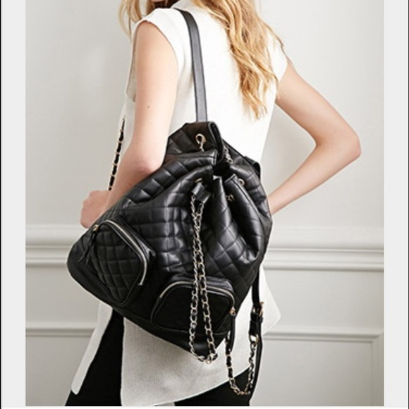 e6712546364aa2 Forever 21 Bags   Quilted Faux Leather Backpack   Poshmark