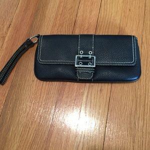 Handbags - Black wristlet with white stitching