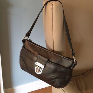 Pewter shoulder bag with slip lock closure