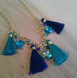 Jolieluxe Mermaid Aqua Tassel Crystal Necklace
