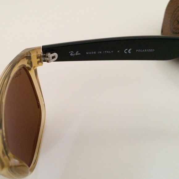 ray ban unisex honey and black wayfarer sunglasses  ray ban accessories ray ban new wayfarer in honey color polarized