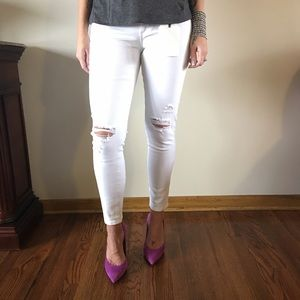 LAST! White Distressed Skinny Jeans