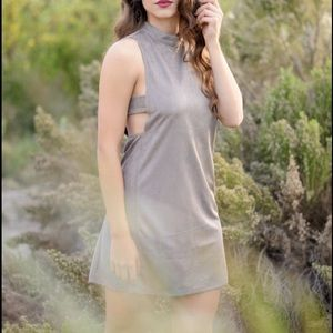 Faux suede cutout Dress