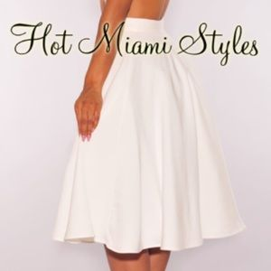 67b7232ad Hot Miami Styles Skirts | Offwhite Flared A Line Skirt | Poshmark