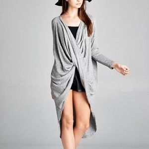 "Bare Anthology Tops - ""Silver"" Twist Front High Low Top"