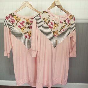 Blush floral & stripe tunic