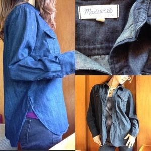 Madewell Tops - Madewell Dark Blue Denim Button Up Chambray Cotton
