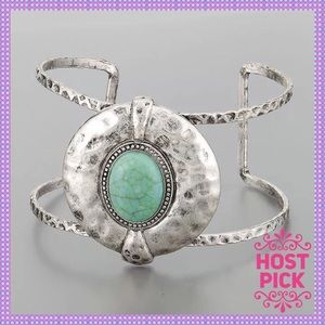 Hammered Silver Turquoise Bracelet Cuff