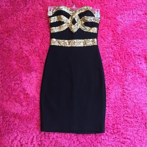 508eada0687ee Charlotte Russe Dresses | Black Gold Sequin Dress | Poshmark