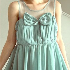 Vintage Seafoam Green Bow Dress
