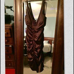 Chocolate brown 3/4 length formal dress