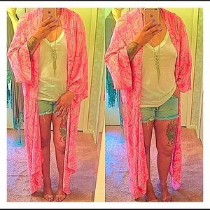 Sweaters - Paisley Print Open Woven Cardigan in PINK