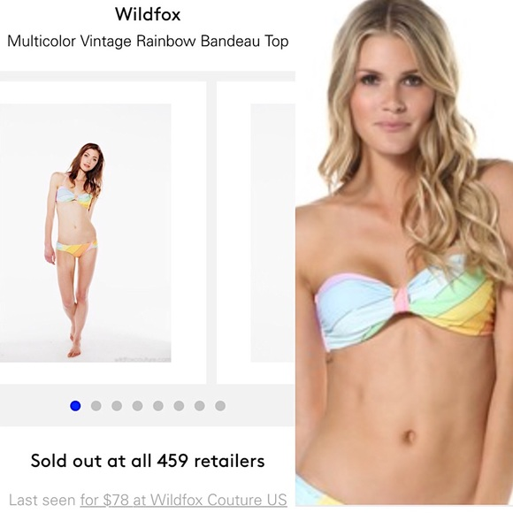 dfa4264f55 ⚡️SALE⚡️Wildfox vintage rainbow bandeau bikini top.  M_56da0720fbf6f9637d00a962