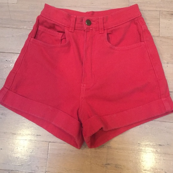 72% off American Apparel Pants - American Apparel red high waisted ...