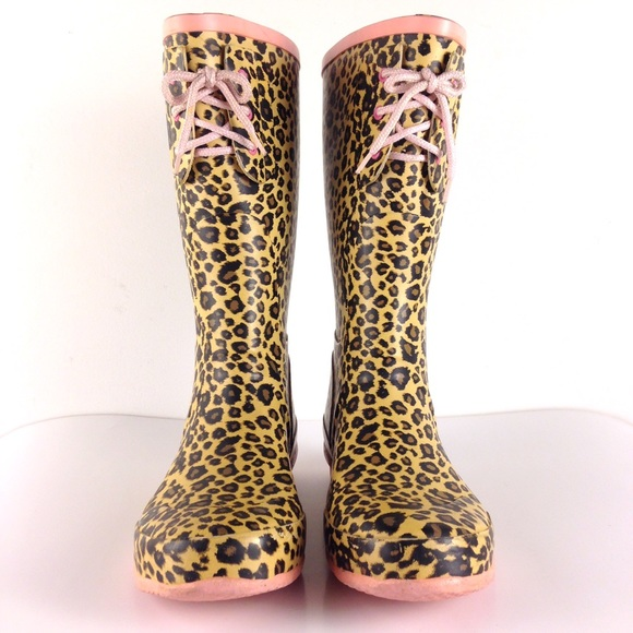 84% off Tamara Henriques Shoes - LEOPARD RAIN BOOTS Pink Wellies ...