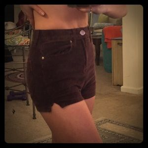 High waisted velour shorts from Urban Outfitters