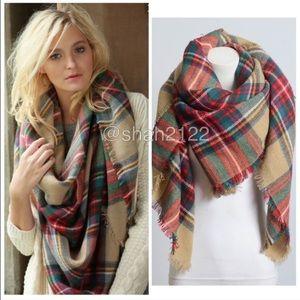 Boutique Accessories - Tartan Blanket Plaid scarf wrap shawl checked