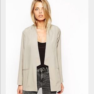 Asos Soft Blazer/ Blouse with Notch Lapel US0 Grey