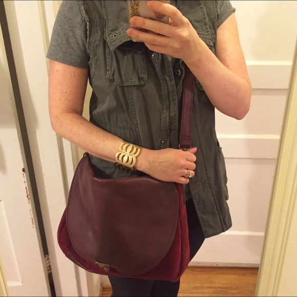 Target Handbags - Burgundy suede crossbody bag