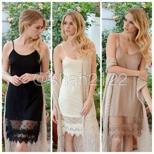 Lace slip dress tunic top extender midi cami