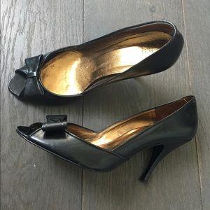 Zara black open toe with bow heel - worn twice