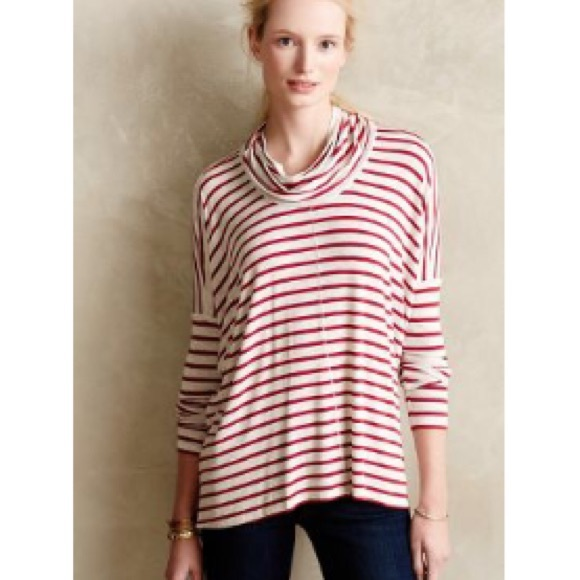 74% off Anthropologie Tops - Anthropologie Bordeaux red stripe ...
