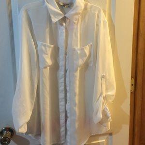 Decree, sheer button down blouse!