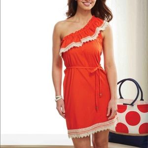 Mudpie one shoulder ruffle dress tie waist