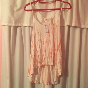 High low coral tank top