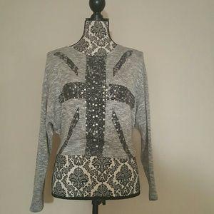 "Gray ""glittery"" sweater"