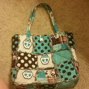 Handbags - Skull blue quilt purse