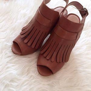 Pour la Victoire Shoes - SALE! 💐 Pour la Victoire Fringe Peep Toe Heel