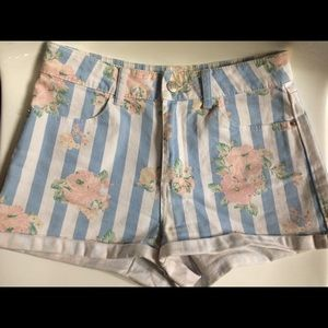 Pastel Blue Pink Striped Rose High Waisted Shorts
