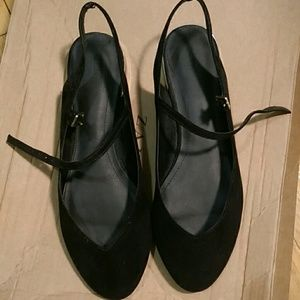 Black suede zara flats with ankle strap