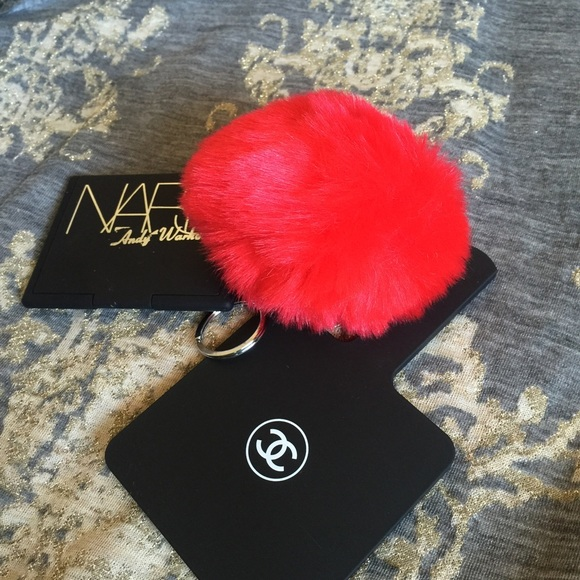 Boutique Accessories New Large Red Fuzzy Pom Pom Silver