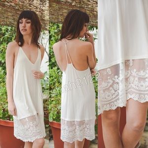 Boutique Tops - Ivory lace tunic top slip dress extender Cami