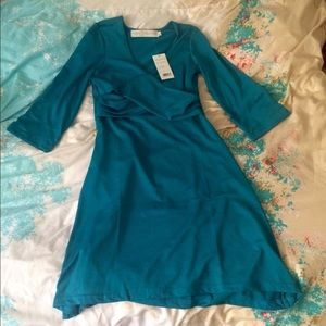 Tracy Negoshian Dresses & Skirts - Tracy Negoshian Turquoise Wrap Front Mindy Dress