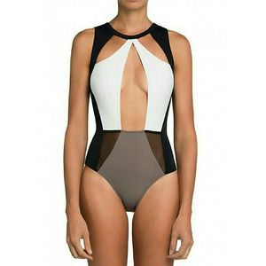 Other - Black, White, and Grey Cutout One piece Swimsuit