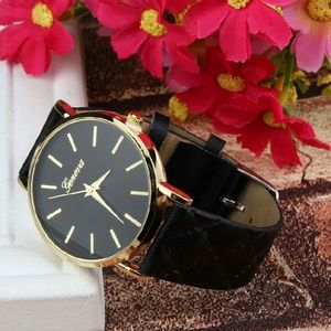 Geneva  Accessories - Geneva black quilted faux leather gold watch