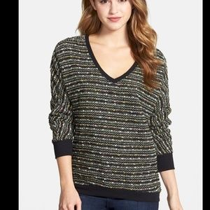 Sage Sweaters - SAGE V-Neck Black Multi Woven Pullover Sweater Top