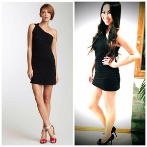 Nicole Black One-Shoulder Black Mini Dress