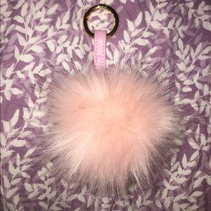 Pink pom pom fur ball bag charm