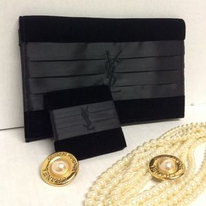 nwt ysl yves saint laurent signature black clutch cosmetics bag ysl parfums