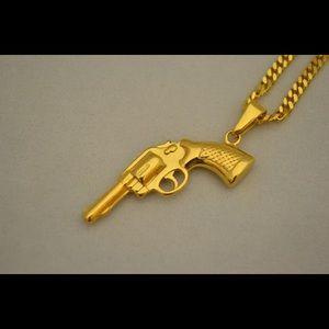 Mens 24k gold overlay pistol gun pendant necklace poshmark accessories mens 24k gold overlay pistol gun pendant mozeypictures Images