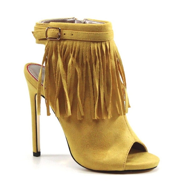 ca86107bbd Luichiny Shoes | Happy One Fringe Peep Toe Bootie | Poshmark