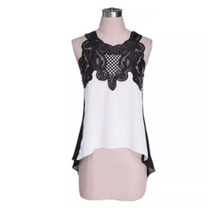 Tops - SIZES 2-12 IN STOCK! Anna Black & White Lace Top
