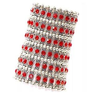 ED11 6 Row Wide Red Crystal Bead Bracelet